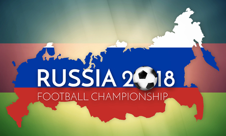 worl: soccer 2018 germany russia states government outline modern map regular design Stock Photo