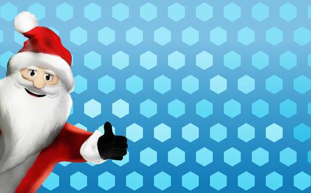 Santa Claus christmas happy thumbs up 3d render
