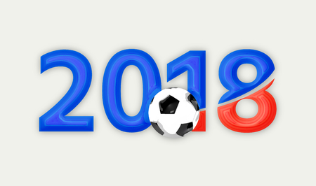 3d render: Russia 2018 red blue symbol 3d render Stock Photo