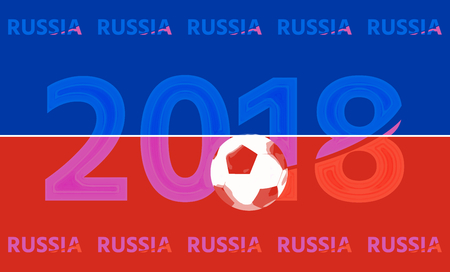 red and blue: Russia 2018 red blue symbol 3d render Stock Photo
