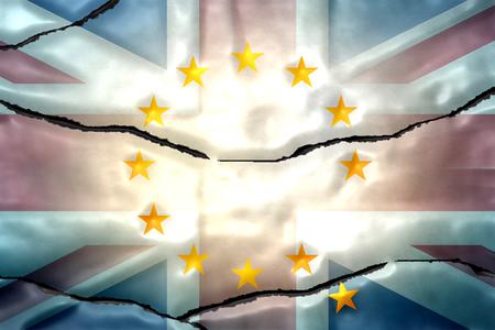 allied: cracked europe UK wall flag regular design metallic design