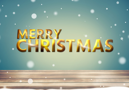 3d render: Merry Christmas golden bold font 3d render