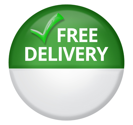passed test: free delivery 3d render button Stock Photo
