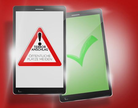 warning system: German language warning terror smartphone warning system