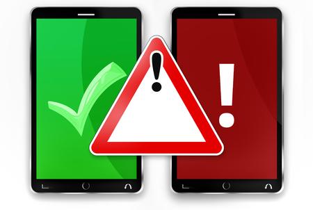 warning sign smartphones 3d render Stock Photo
