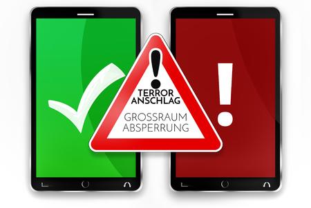 german language Greater Barrier warning sign smartphones terrorist attack warning