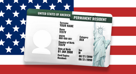 permanent resident USA card 3d render Standard-Bild