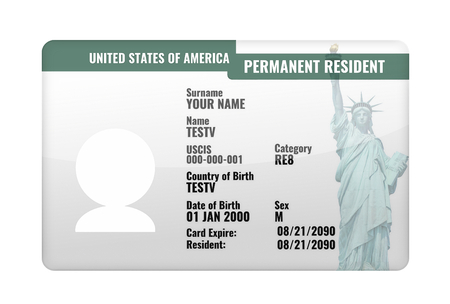 permanent resident USA card 3d render Stock Photo