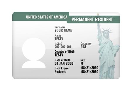 resident: permanent resident USA card 3d render Stock Photo