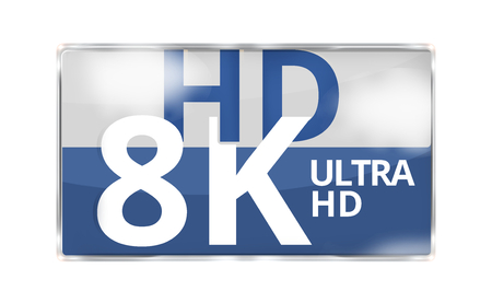 hdtv: 8K Ultra HD modern badge icon symbol 3D render