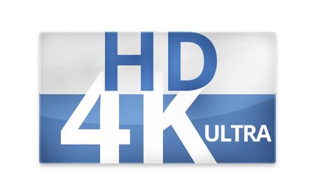 hdtv: 4K Ultra HD modern badge icon symbol 3D render