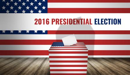 urn: presidential 2016 election america flag 3d render