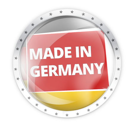 opacity: made in germany round opacity button icon 3d render