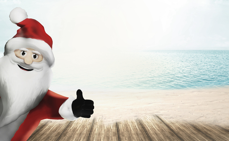 3D Render Santa Claus happy thumb up
