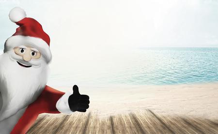3D Render Santa Claus happy thumb up Stok Fotoğraf - 63689220