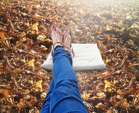 sandalias: Sandals autumn leaves background