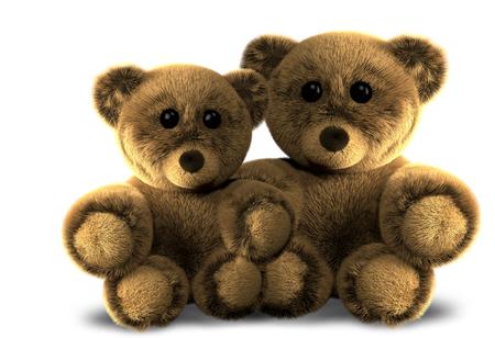 3d render two cute teddy bears