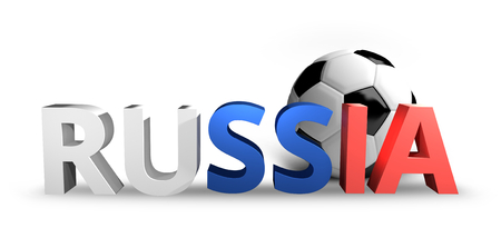 russian  russia: russia russian Football soccer sports realistic 3D render Stock Photo