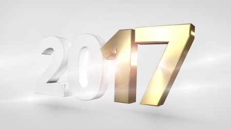 sylvester: Happy New Year 3D Render Golden Sylvester
