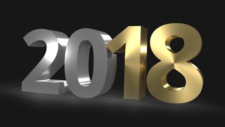 beginnings: Happy New Year 3D Render golden