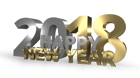 sylvester: Happy New Year 3D Render golden