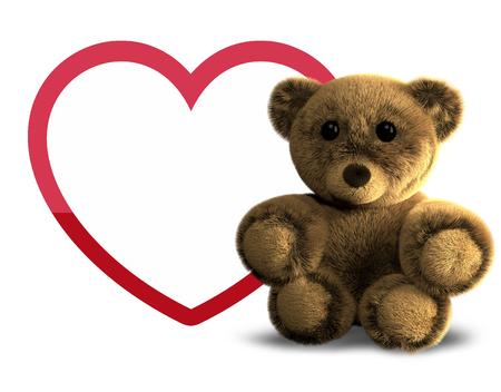 Teddy bear and big heart 3D render
