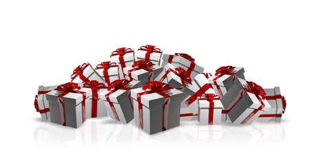 give away shop: White christmas gifts with red ribbons 3d render