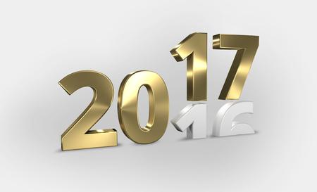 nombre d or: 2016 2017 or 3D render