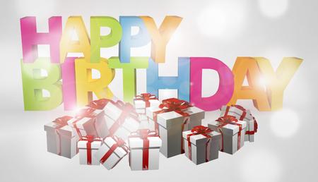 3d render: happy birthday gifts 3d render
