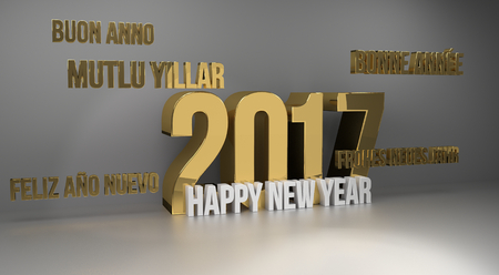 multilingual: 2017 happy new year multilingual 3d render