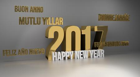 multilingual: 2017 happy new year multilingual 3d render