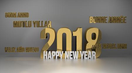 render: multilingual 2018 golden 3d render