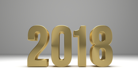 2018 happy new year 3d render 版權商用圖片