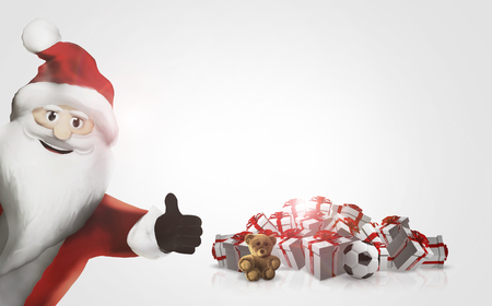 gift 3D Render Santa Claus happy thumb up christmas gifts Stock Photo