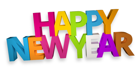 color 3d: happy new year color 3d render Stock Photo