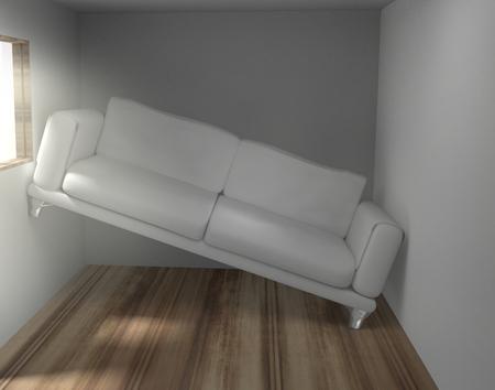 작은 거실에서 공간 문제 3 차원 렌더링 스톡 콘텐츠