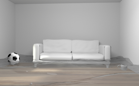 water damage: Water damage due to flooding in house 3d render