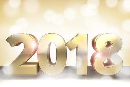 sylvester: 2018 golden 3d render sylvester 2018 Stock Photo