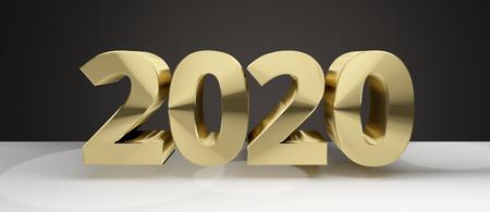 sylvester: 2020 golden sylvester new year 2020 3d render