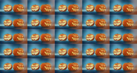 halloween pompoen. achtergrond pompoenen halloween 3d render