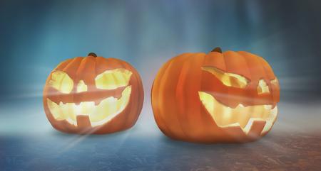 halloween pompoen. twee pompoenen halloween 3d render