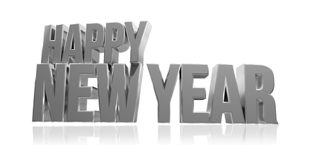 sylvester: happy new year. new year silver 3d render