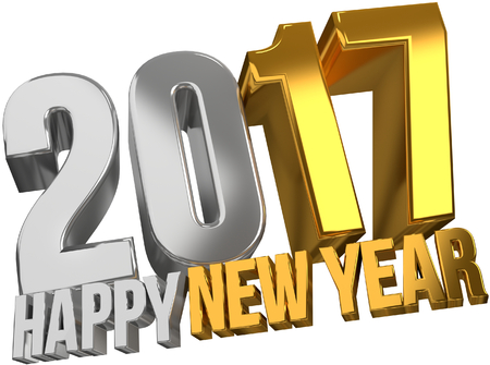 sylvester: 2017 happy new year. 2017 sylvester gold 3d render Stock Photo