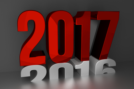 2017 new year. happy new year 2017 3d render