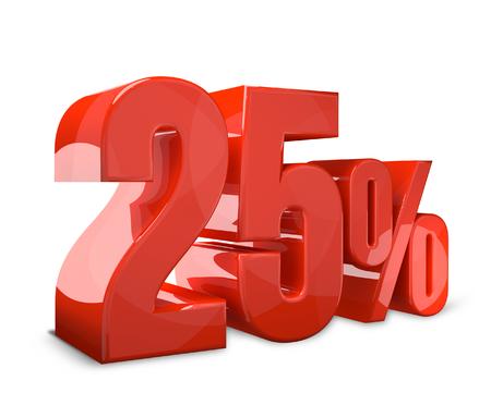 3d render: 25% sale 3d render bold sale Stock Photo