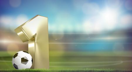 1: football soccer number 1. 3D render