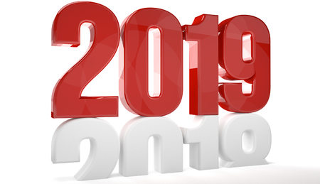 2019 red isolated over old 2018 3d render Standard-Bild