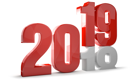 2019 red white new year sylvester 3d render 스톡 콘텐츠