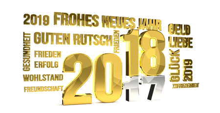german language for 2018 new year 3d render