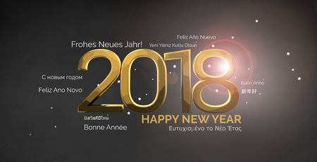 multilingual: multilingual happy new year 3d render background Stock Photo